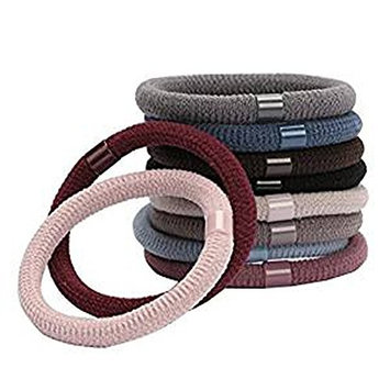 10PCS Random Color Nylon Elastic Thick Large Ponytail Holder Stretch Hair Tie Hair Rope Hair Band Hair Rope