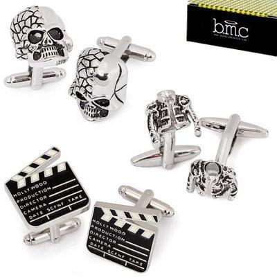 BMC 3 Pair Silver Color Mens Cufflinks Set-Pop Star Jacket Skull Movie Marker