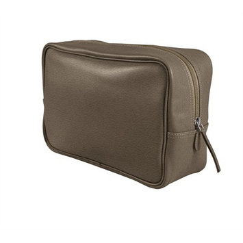 Lucrin Travel Toiletry/Wash Bag, Granulated Cow Leather - Dark Taupe BG1002_VCGR_TPF