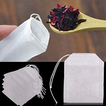 DZT1968 100 pcs Empty Teabags String Heat Seal Filter Paper Herb Loose Tea Bag