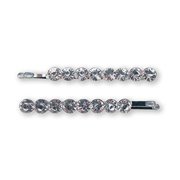 Mia Bobby Pins-Sparkly, Shiny, Brilliant Cut Diamond Shaped, Pretty Rhinestone Bobby Pins For The Hair-8 Beautiful Clear Rhinestones Per Pin-Each Measures 2 Inches Long x 0.2 Inches Wide (2 pcs)