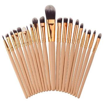 YWSiwa 20PCS Wood Handle Make Up Brush Set, Eyebrow Eyeliner Blush Foundation Cosmetic Concealer Brushes