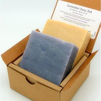 Lavender Soap Gift Set (2 Full Size Bars) - Lavender, Lavender Lemongrass Milk Castile - Great for DRY/SENSITIVE Skin - Handmade in USA - All Natural/Organic Ingredients