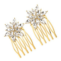 Baoblaze Pack of 2 Bridal Wedding Crystal Rhinestones Hair Comb Bride Women Party Accessory - Gold, 5.2 x 2.7 cm
