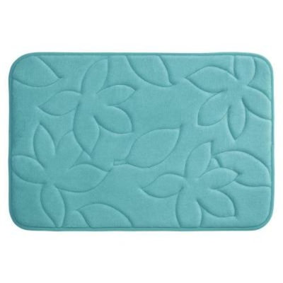 BounceComfort Blowing Leaves Turquoise 20 in. x 34 in. Memory Foam Bath Mat