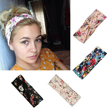 4 Pack Lengthened Size Women Headbands Elastic Turban Head Wrap Flower Hair Bands