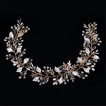 BININBOX Wedding Hair Crystal Pearl Alloy Leaf With Bead For Women Bridal Bridesmaids Headpiece Head Band Accessorie