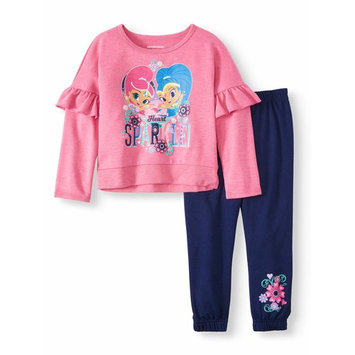 Shimmer & Shine Ruffle Sleeve French Terry Top & Jogger Pants, 2pc Outfit Set (Toddler Girls)