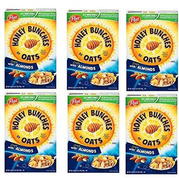 Pack of 6 - Honey Bunches Of Oat Hbo Almond Cereal Family Size