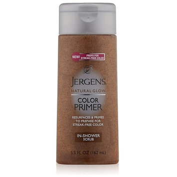Jergens Natural Glow Color Primer In-Shower Scrub, 5.5 Ounce + FREE Travel Toothbrush, Color May Vary