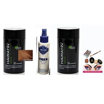 Bundle 4 Items: Hairatin 2x Hair Fibers Light Brown 28 gr +2x Hold Spray Piz-zaz + ITAY Brow Building Fiber kit matching color (light brown)