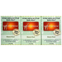 Out of Africa, Pure Shea Butter Bar Soap, Green Clay, 3 Pack, 4 oz (120 g) Each [Scent : Green Clay]