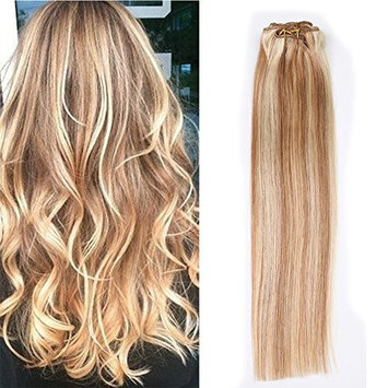 Clip In Hair Extensions Human Hair Silky Straight Full Head Remy Hair Clip On For Fine Hair 70 Gram 7 piece per Set Color #12/613 Yokada Hair. (14 inch,...