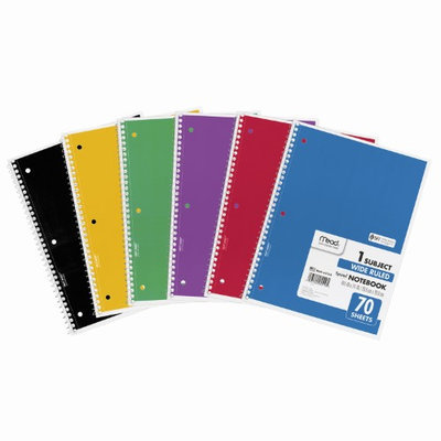 Mead MEA05510 Spiral Bound Wide Ruled Notebooks