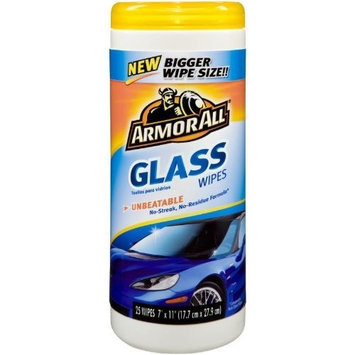 Armor All Glass Cleaner Wipe Plastic Canister- 25 Sheets, (Pack of 6)