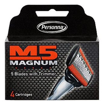 Personna M5 Magnum 5 Refill Razor Blade Cartridges, 4 ct. (Pack of 2) + FREE Travel Toothbrush, Color May Vary