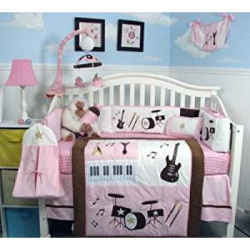 Soho Designs SoHo, 14-Piece Baby Crib Nursery Bedding and Diaper Bag Set, Spring Time Butterfly