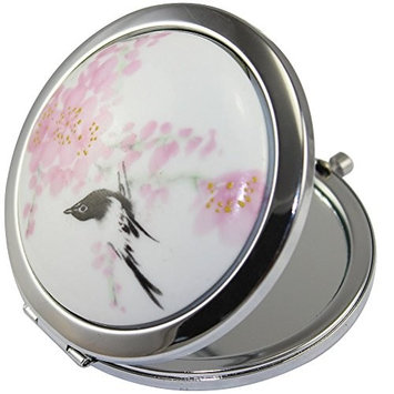 KOLIGHT New Vintage Chinese Landscape Flower Bird Double Sides Portable Foldable Pocket Metal Makeup Compact Mirror Woman Cosmetic Mirror...