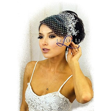 Leslie Li Women's Pearl Crystal Spray Cluster Comb and Birdcage Veil Bridal One Size Ivory 27-513