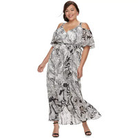 Plus Size Chaya Cold-Shoulder Wrap Maxi