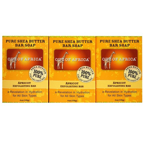 Out of Africa, Pure Shea Butter Bar Soap, Apricot Exfoliating Bar, 3 Pack, 4 oz (120 g) Each [Scent : Apricot]