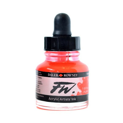 Daler-rowney FW Artists' Ink fluorescent red, 1 oz. [pack of 3]