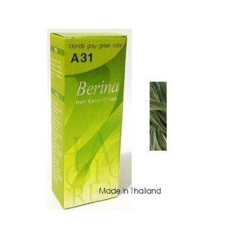 Berina Permanent Hair Dye A31 -Blonde Gray Green Color Collection Thai 1 Pack