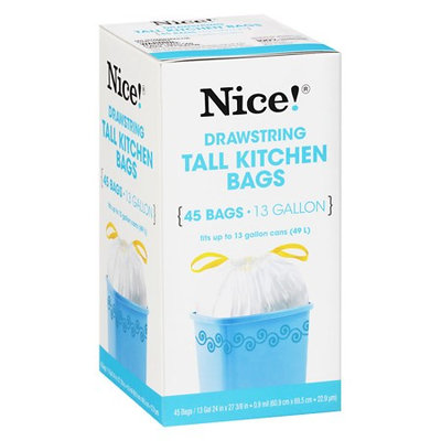 N'ice Nice! Drawstring Tall Kitchen Bags 13 Gallon 45.0 ea (Pack of 3)
