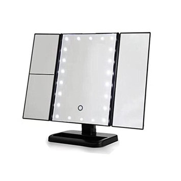 Makeup Vanity Mirror with 24 LED Lights, Carejoy Portable Three Folding Table LED Lamp Luminous Makeup Mirror Cosmetic Mirror Adjustable Tabletop Countertop Light Mirror