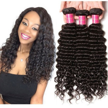 ALI JULIA Brazilian Virgin Deep Curly Wave Hair Weft 3 Bundles 100% Real Unprocessed Human Hair Weave Extensions Natural Color 95-100g/pc (20 22 24 inches)