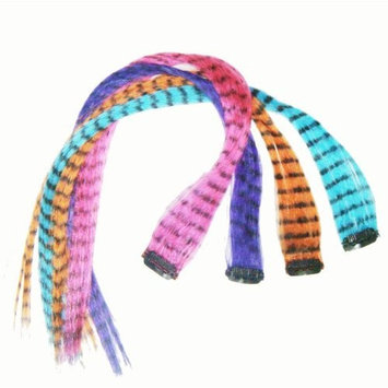 4 X Colored Feather Print Clip on in Hair Extensions Beauty Salon Supply Wholesale Lot New. From New York.