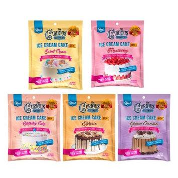 The Curious Creamery 851945007810 Ice Cream Cake Mix Mega Sampler - German Chocolate Sweet Cream Espresso Strawberry & Birthday Cake - 5 Pouch Pack