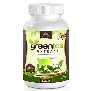 Botanica Research All Natural Green Tea Extract with Premium Blend of EGCG Anti-Aging Antioxidant, 500mg, 180 Capsules