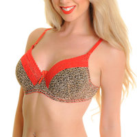 Angelina Wired Leopard Print Bra with Convertible Straps (6-Pack)