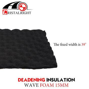 Car Elements 15mm Thickness Heat Proof Mat Black Adhesive For Noise Shield Proofing Proof Barrier Aluminum Foam Trunk Floor Mat Firewall Doors (18'x40)