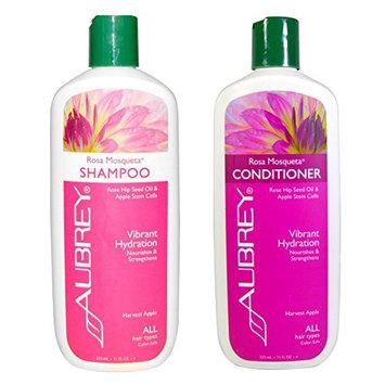 Aubrey Organics Rosa Mosqueta Shampoo and Aubrey Organics Rosa Mosqueta Conditioner Bundle With Rose Hip Seed Oil and Apple Stem Cells For All Hair Types, 11 fl oz (325 ml) each