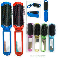Atb 5 Folding Hair Brush Mirror Compact Pocket Size Travel Car For Purse Bag Gift!