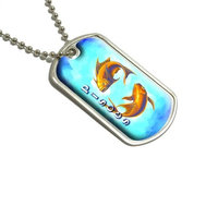 Pisces Gold Fish Zodiac - Astrological Sign Astrology Military Dog Tag Luggage Keychain