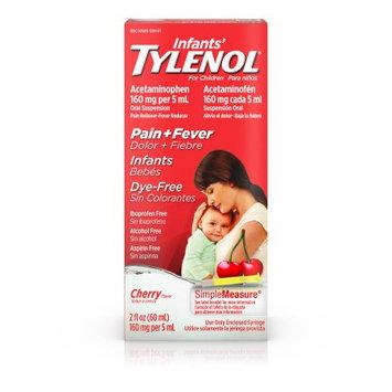 Johnson & Johnson Infants' Tylenol Oral Suspension, Dye-Free, Cherry, 2 Oz