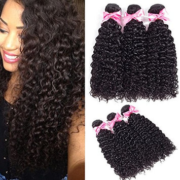 Brazilian Curly Hair 3 Bundles Virgin Hair Kinky Curly Human Hair Weave 8A 100% Unprocessed Hair Extensions Natural Black Color