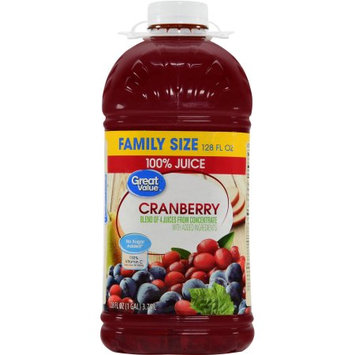 Great Value No Sugar Added Cranberry Juice, 1 gallon