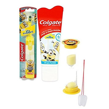 Despicable Me Minions 3pc Bright Smile Oral Hygiene Set! Turbo Powered Spin Toothbrush, Toothpaste & Brushing Timer! Plus
