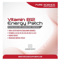 Pure Science? Transdermal Vitamin B12 Patch? 6 Energy Patch each with 5000 Mcg of Vitamin B12 Per Patch - With Cyanocobalamin a Highly Stable Form of Vitamin B12 - Essential for Daily Energy and Bodily Functions (Pack of 6)