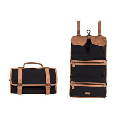 Dwellbee Canvas and Leather Hanging Toiletry Bag (Black Canvas, Tan Cowhide)