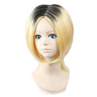 Ainiel Unisex Two Tone Pre-cut Halloween Cosplay Party Bob Wigs Short Black Blond