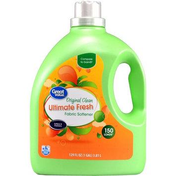 Great Value Ultimate Fresh Fabric Softener, Original Clean Scent, 129 fl oz