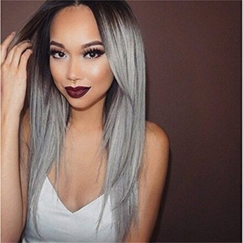 Superwigy Long Straight Hair Two Tone Black and Grey Ombre Wig Heat Resistant Fiber Synthetic Wigs
