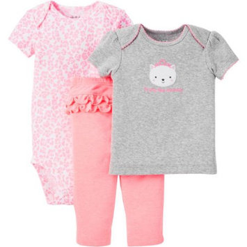 Child Of Mine By Carter's Child of Mine made by Carter's Newborn Baby Girl T Shirt, Bodysuit and Pant Outfit Set 3 Pieces