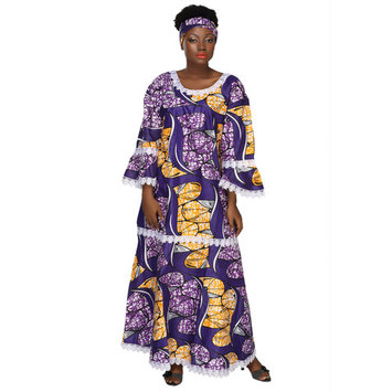 African Planet Women's Nigerian style Long Maxi Dress with headwrap