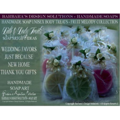 Barbara's Design Solutions Handmade Soap Bath and Body Treats Gift Sets (4 Pack ) Fruit Slices Lemon, Lime, Orange, Grapefruit (c) B.D.S. All Rights Reserved.